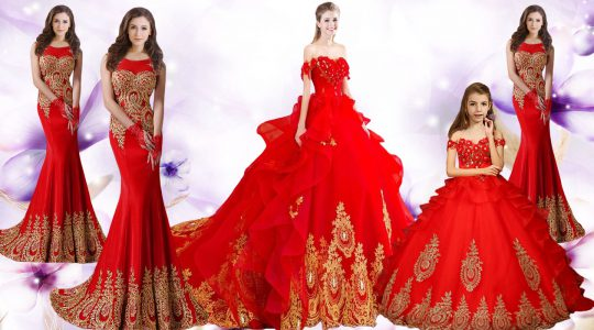 Sweet Red Sleeveless Brush Train Beading and Appliques and Embroidery Quinceanera Dress