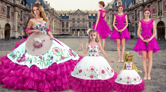 Sweetheart Sleeveless Quinceanera Gown Floor Length Embroidery and Ruffled Layers Fuchsia Organza
