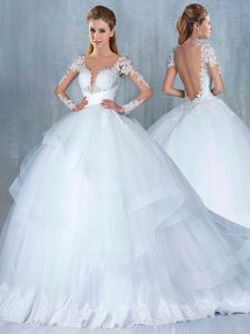 Dramatic Backless Wedding Gowns White for Wedding Party with Lace and Appliques and Ruffles Court Train