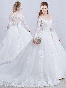 Long Sleeves Tulle Brush Train Zipper Wedding Dresses in White with Lace and Appliques
