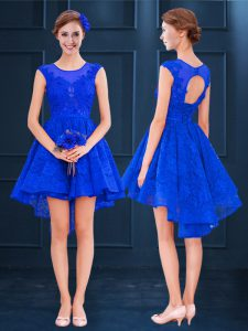 Satin and Lace Sleeveless High Low Dama Dress for Quinceanera and Lace and Belt