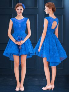 Clearance Blue A-line Satin and Lace Scoop Sleeveless Lace and Belt High Low Clasp Handle Quinceanera Court Dresses