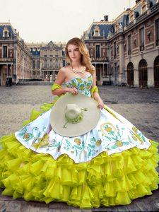 Elegant Organza and Taffeta Sleeveless Floor Length 15th Birthday Dress and Embroidery and Ruffled Layers