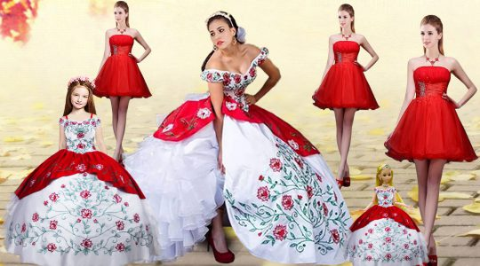 Charming White And Red Sleeveless Brush Train Embroidery and Ruffled Layers Quinceanera Gown