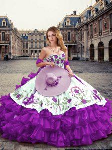 Stunning Floor Length Eggplant Purple Sweet 16 Dresses Organza Sleeveless Embroidery and Ruffled Layers
