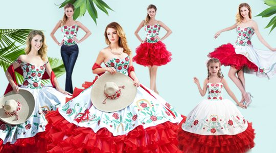 Flare Organza Sweetheart Sleeveless Lace Up Embroidery and Ruffled Layers Quinceanera Dress in Red