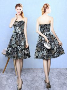 Trendy Multi-color Printed Zipper Sweetheart Sleeveless Knee Length Bridesmaid Dresses Pattern
