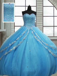Baby Blue Sleeveless Beading and Appliques and Sequins Floor Length Sweet 16 Dresses