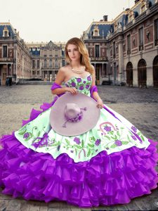 Eggplant Purple Organza Lace Up Quinceanera Gown Sleeveless Floor Length Embroidery and Ruffled Layers