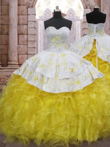 Yellow And White Sweetheart Neckline Beading and Appliques and Ruffles Quinceanera Gowns Sleeveless Lace Up