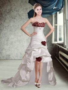 Luxurious Sweetheart Sleeveless Taffeta Wedding Dress Appliques and Pick Ups and Hand Made Flower Brush Train Lace Up