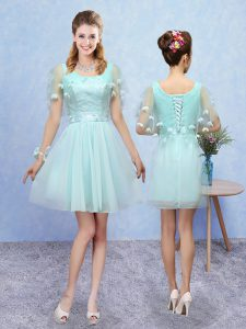 Adorable A-line Dama Dress for Quinceanera Aqua Blue Scoop Tulle Sleeveless Mini Length Lace Up