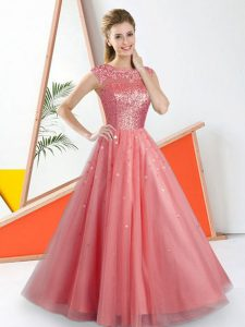 Noble Beading and Lace Wedding Guest Dresses Watermelon Red Backless Sleeveless Floor Length