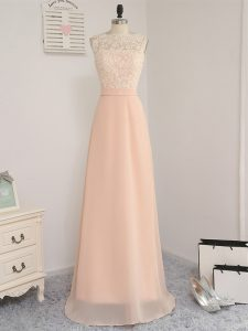 Dazzling Bateau Sleeveless Backless Dama Dress Peach Chiffon
