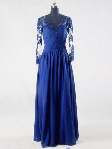 Dynamic V-neck Long Sleeves Mother Of The Bride Dress Floor Length Lace and Appliques Blue Chiffon