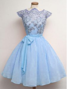 Graceful Blue Lace Up Scalloped Lace and Belt Quinceanera Court of Honor Dress Chiffon Cap Sleeves
