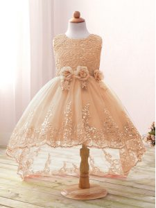 Spectacular Champagne Scoop Neckline Lace and Bowknot and Hand Made Flower Flower Girl Dresses Sleeveless Zipper