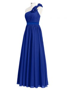 Glorious Chiffon One Shoulder Sleeveless Zipper Ruffles and Ruching Bridesmaid Dress in Royal Blue