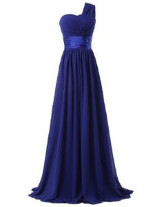 Royal Blue One Shoulder Lace Up Ruching Quinceanera Court of Honor Dress Sleeveless