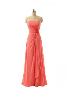 Watermelon Red Strapless Neckline Hand Made Flower Quinceanera Dama Dress Sleeveless Zipper