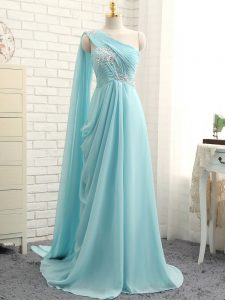 Aqua Blue One Shoulder Neckline Beading and Ruching Dama Dress for Quinceanera Sleeveless Zipper