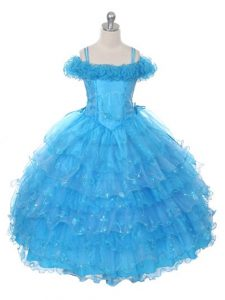 Beauteous Baby Blue Sleeveless Organza Lace Up Little Girls Pageant Dress Wholesale for Wedding Party