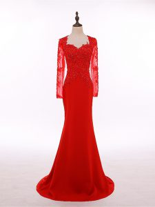 Suitable Scoop Long Sleeves Mother Of The Bride Dress Floor Length Lace and Appliques Red Chiffon