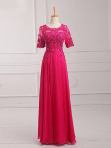 Chiffon Half Sleeves Floor Length Mother Of The Bride Dress and Lace and Appliques