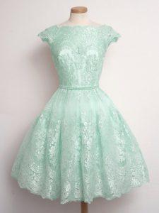 Scalloped Sleeveless Damas Dress Knee Length Lace Apple Green Lace