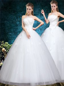 Colorful White Ball Gowns Tulle Off The Shoulder Sleeveless Appliques and Embroidery Floor Length Lace Up Wedding Gowns