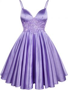 Lilac Lace Up Spaghetti Straps Lace Dama Dress Elastic Woven Satin Sleeveless