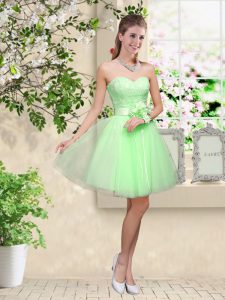 Enchanting Wedding Party Dress Prom and Party with Lace and Belt Sweetheart Sleeveless Lace Up