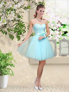 Superior Lace and Belt Bridesmaid Dress Aqua Blue Lace Up Sleeveless Knee Length