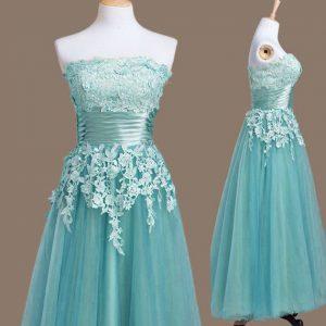 Sumptuous Light Blue Sleeveless Tea Length Appliques Lace Up Bridesmaid Dresses