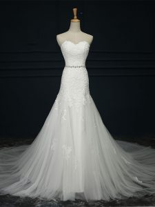 Classical White Sweetheart Lace Up Lace and Belt Wedding Gowns Court Train Sleeveless