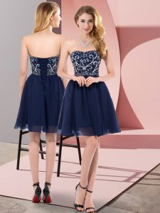 Captivating Mini Length Navy Blue Prom Evening Gown Sweetheart Sleeveless Lace Up