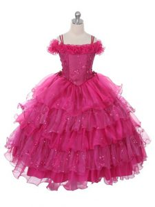 Fashion Floor Length Ball Gowns Sleeveless Fuchsia Little Girls Pageant Dress Wholesale Lace Up