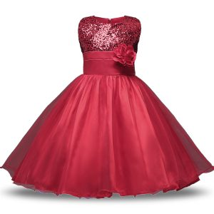 Bowknot and Belt and Hand Made Flower Flower Girl Dresses for Less Wine Red Zipper Sleeveless Knee Length