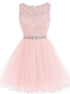 Scoop Sleeveless Zipper Prom Homecoming Dress Pink Tulle