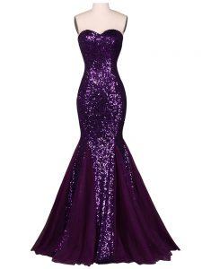 Purple Sleeveless Sequins Floor Length Evening Party Dresses