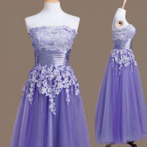 Appliques Dama Dress Lavender Lace Up Sleeveless Tea Length
