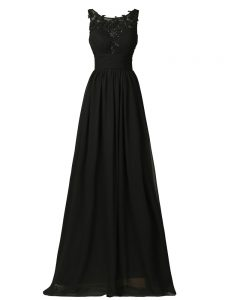 Hot Sale Black Chiffon Zipper Vestidos de Damas Sleeveless Floor Length Appliques