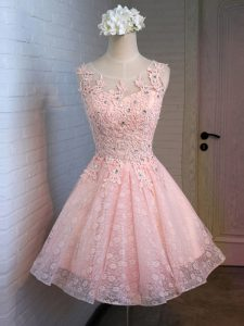 Captivating Scoop Sleeveless Lace Prom Dress Lace and Appliques Lace Up