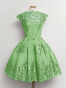 Cap Sleeves Tulle Knee Length Lace Up Quinceanera Court Dresses in with Lace