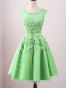 Excellent Knee Length Green Dama Dress for Quinceanera Tulle Sleeveless Lace