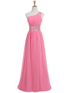 Captivating Rose Pink Chiffon Backless One Shoulder Sleeveless Floor Length Evening Wear Beading and Ruching