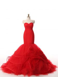 Custom Fit Ruffles Evening Gowns Red Zipper Sleeveless Brush Train