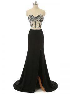 Black Pageant Dress Womens Sweetheart Sleeveless Brush Train Zipper