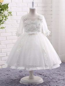 Tea Length Ball Gowns Short Sleeves White Toddler Flower Girl Dress Zipper