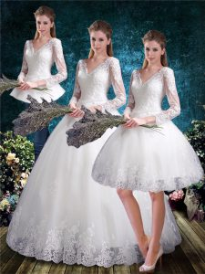 White V-neck Lace Up Lace Wedding Gown 3 4 Length Sleeve